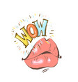 mouth with speach bubble wow and female lips in vector image vector image