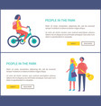 people in park girl riding bike couple walking vector image vector image