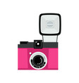 pink and black analog film camera icon flat vector image vector image