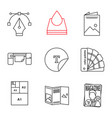 printing linear icons set vector image