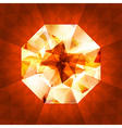 Realistic diamond in top view on shiny background vector image vector image
