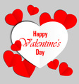 Red and white paper heart Valentines day card vector image vector image