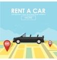 Rent a car pin pointer on map location vector image vector image
