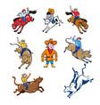 rodeo cowboy cartoon set vector image