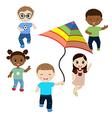 Running children on white background vector image vector image