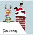santa and reindeer vector image vector image