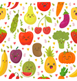 Seamless pattern with fresh vegetables and fruits vector image vector image
