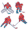 set hockey players isolated on a white vector image