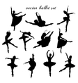 Set of ballet dancers silhouettes vector image