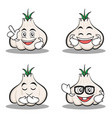 set of garlic cartoon character collection vector image