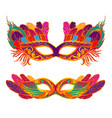set of masquerade colorful masks isolated on white vector image