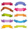set of ten multicolor ribbons and banners vector image vector image
