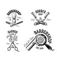 set of vintage barbershop emblems labels badges vector image vector image