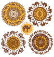 set round ornament pattern with camels vector image