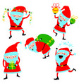 set with santa claus cute christmas winter vector image vector image