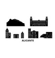 spain alicante flat travel skyline set spain vector image vector image