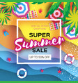 summer sale in paper cut style origami beach rest vector image