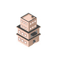 three story building with terrace isometric style vector image