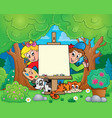 tree theme with painting children vector image