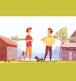 two male neighbors at village background vector image