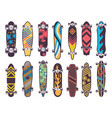 various colored patterns on skateboards vector image vector image
