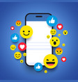 various emoticons on a smartphone screen vector image vector image