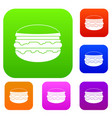 burger set color collection vector image