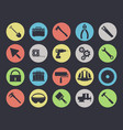 work tools icons set isolated on black vector image