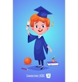 Cute boy with diploma ball and book Back to vector image