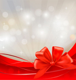background with red bow and ribbons vector image
