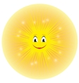 a cute yellow cartoon sun vector image vector image
