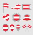 austria flag icons set symbols flag of vector image vector image