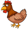 brown chicken with sad face vector image vector image