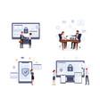 business security flat set vector image