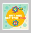 buy one get two free social media posts mockup vector image