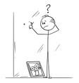 cartoon man thinking how to use hook to hang vector image vector image