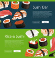 cartoon sushi horizontal banner templates vector image vector image