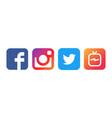 collection of popular social media logos printed vector image vector image