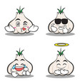 collection set of garlic cartoon character vector image vector image