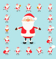 cute santa claus icon set in flat style vector image vector image