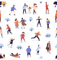 different people skating on rink seamless pattern vector image vector image