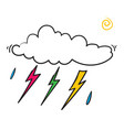 doodle cloud with thunder vector image vector image