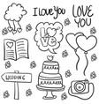 doodle of wedding style vector image vector image