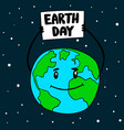 earth day globe with poster design element vector image