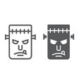 frankenstein line and glyph icon monster vector image vector image