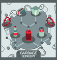 garbage color concept isometric icons vector image vector image