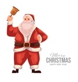 Greeting card with cartoon Santa Claus ringing a vector image