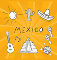 hand drawn mexico symbol stickers set vector image vector image