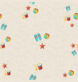 happy summer beach pattern with toys and starfish vector image