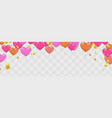 heart balloons banner celebration gold confetti vector image